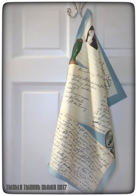 My take on the Spoonflower Recipe Tea Towel featuring my grandmother's handwritten recipes. Designed by Thistle Thicket Studio. www.thistlethicketstudio.com