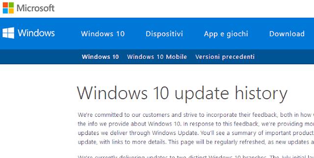Cronologia degli aggiornamenti di Windows 10