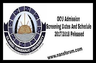Image for OOU Admission Screening Dates And Schedule 2017/2018 Released
