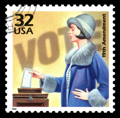 1998 commemorative stamp in honor of 19th Amendment, featuring a woman suffragette voting