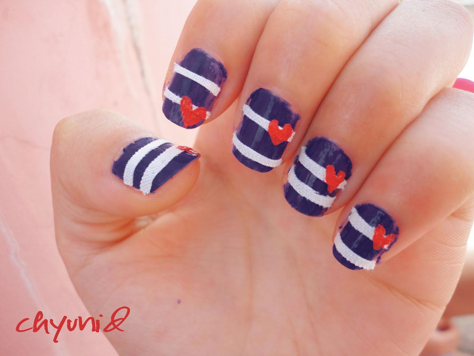 Chyunid: heart band-aid nail art tutorial