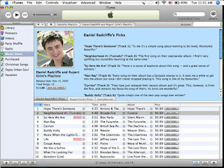 Daniel Radcliffe and Rupert Grint's playlists on iTunes
