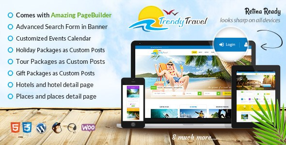 Free Download Trendy Travel Premium Responsive Multipurpose Tour Package WordPress Theme
