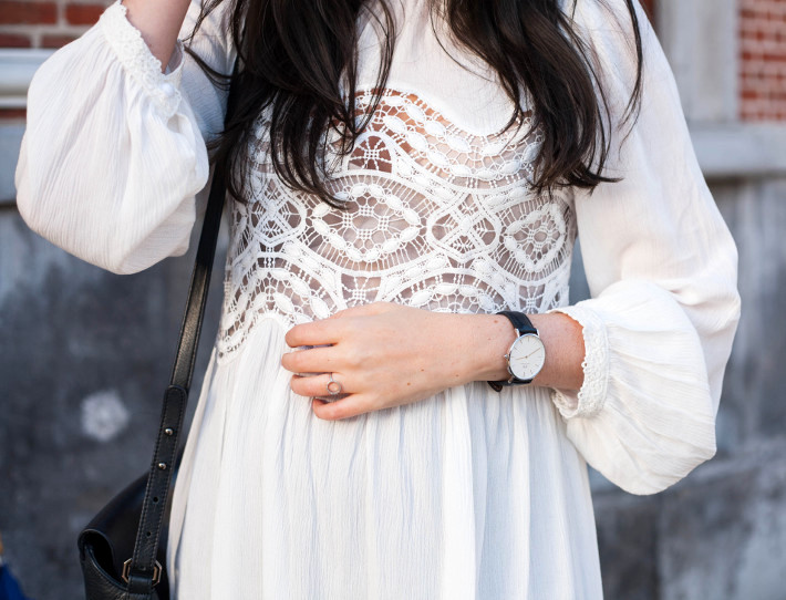 Outfit: white Edwardian style dress with crochet panel