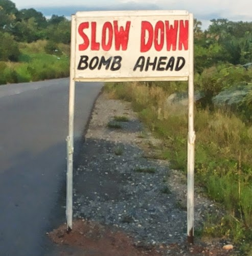slow down bomb ahead
