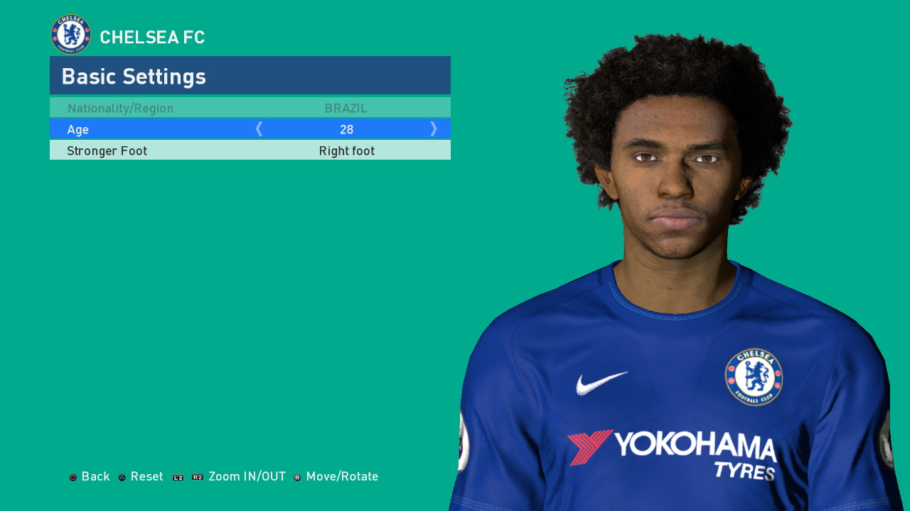 PES 2017 Willian Face by Shenawy