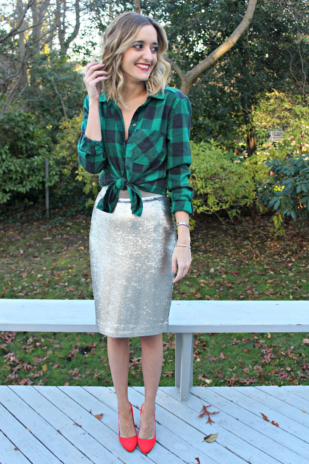 sequins and flannel outfit