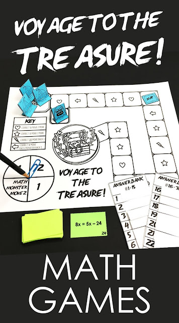 Voyage to the Treasure! is a new collaborative math game series for middle school and high school math students. Students work together to beat the game's board and beat the Math Monster to the treasure! This fun math game comes with cards (30), a game board, an answer bank for students to self-check their answers, game pieces, optional student worksheets, a peer scoring rubric. #mathgames