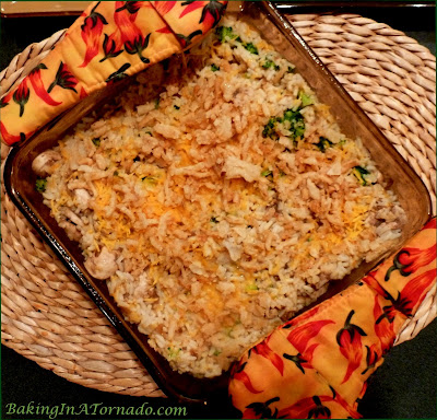 French Onion Brown Rice Casserole, a hearty side dish of rice and vegetables cooked with the flavors of French Onion Soup | Recipe developed by www.BakingInATornado.com | #recipe #rice