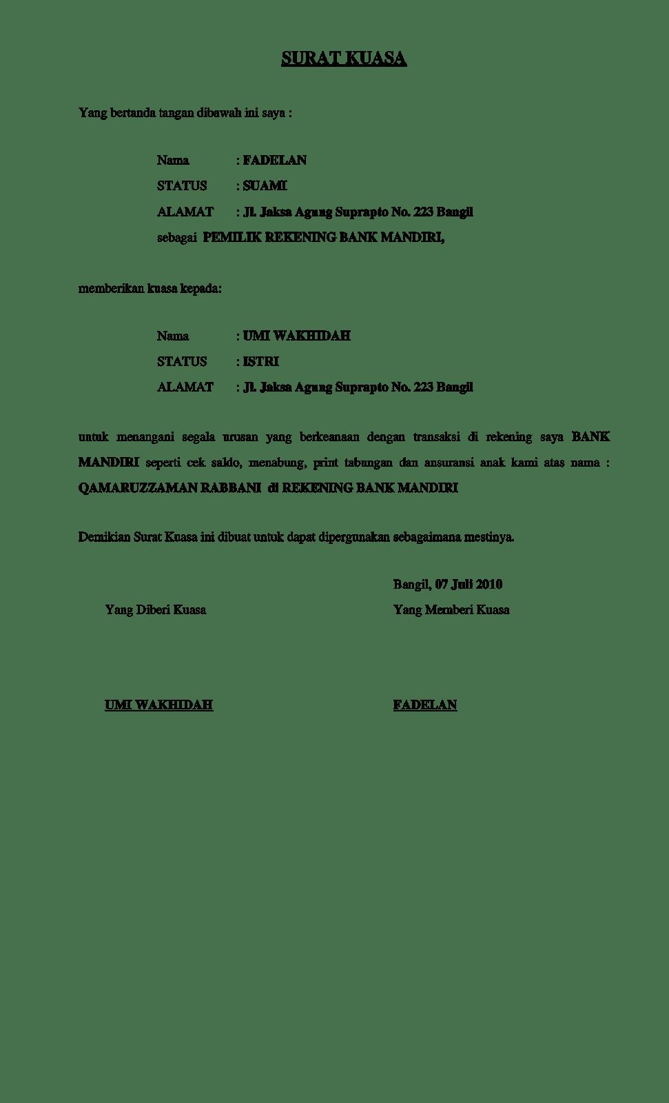 Pola Surat Kuasa Pengambilan Uang Di Bank 2018 Informasi