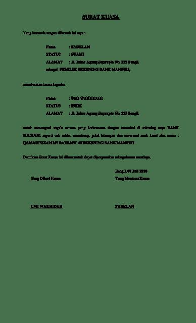Contoh Surat Kuasa Bank Mandiri