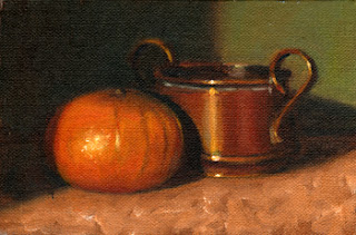 Oil painting of a mandarine beside a small copper pot.