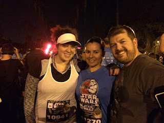 My husband, sister-in-law, and me getting up bright and early for the runDisney Star Wars 10k race