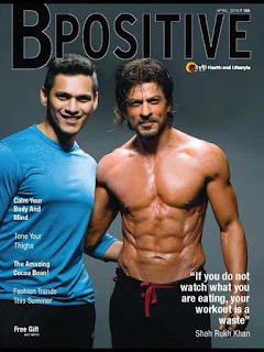 Shah Rukh Khan chiseled body on the Cover Page of BPositive magazine April 2016