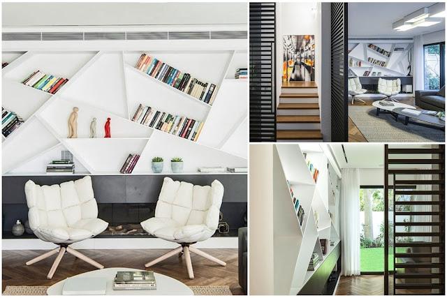 Unique Book Shelving Design For Living Room
