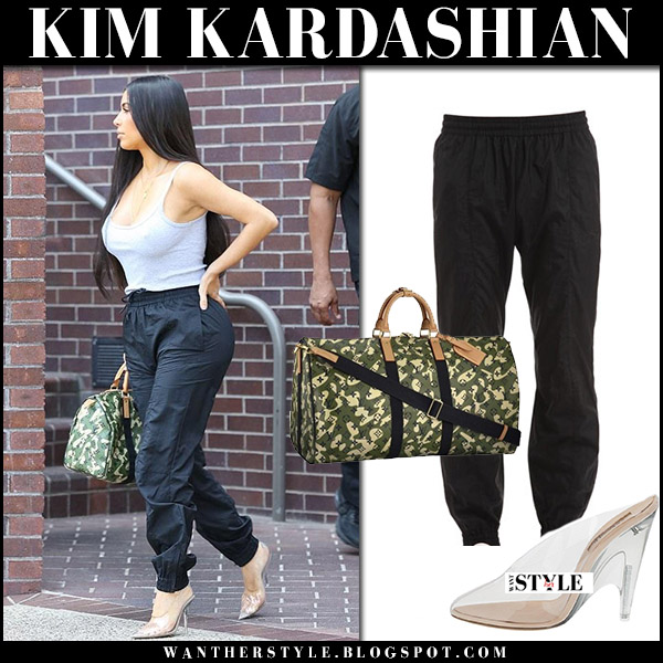 Kim Kardashian in grey top black track pants vetements clear mules august 24 2017