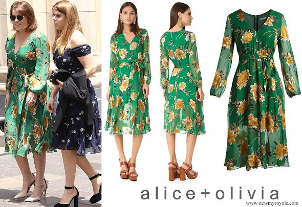 Princess Eugenie wore Alice + Olivia Coco Plunging V-Neck Midi Dress