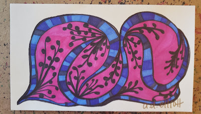 A pen and ink doodle meditation in pink and blue and a blurb about language and two really great words