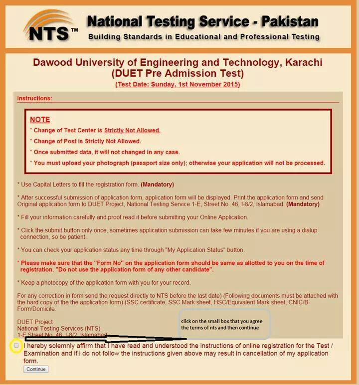 How to Fill DUET NTS Form Filling Procedure Guidance 2015-16