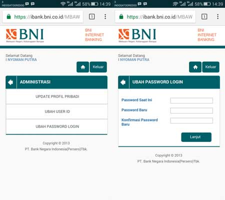 Cara Ganti Password Internet Banking BNI