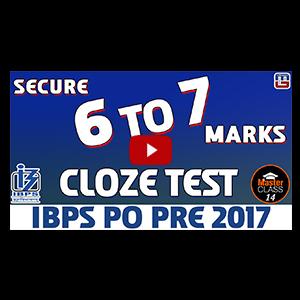 Master Class | Cloze Test | English | Preparation Lecture 14 | IBPS PO 2017