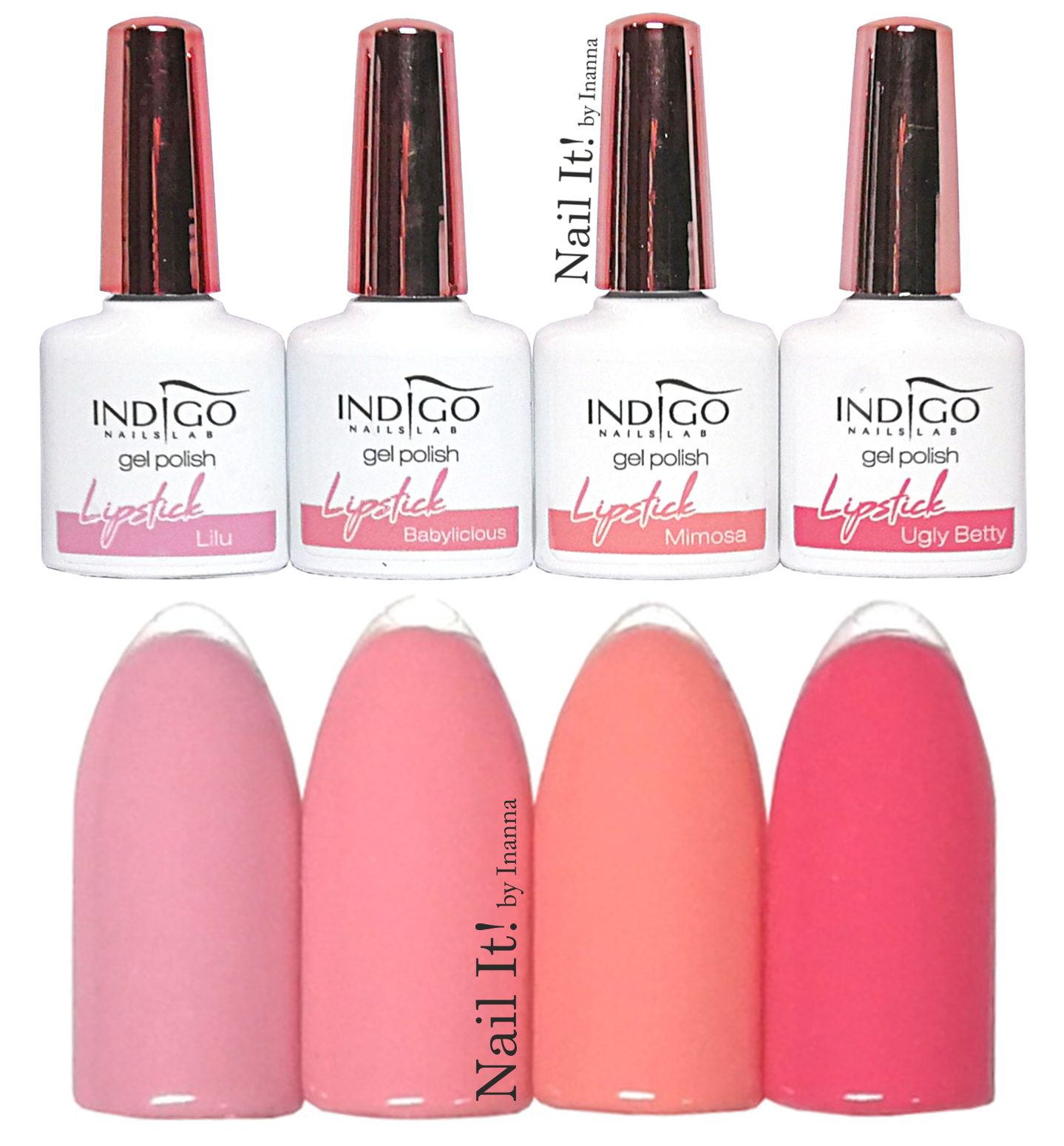 "Indigo Nails ""Lipstick Summer"" collection - swaches of 4 new colors"