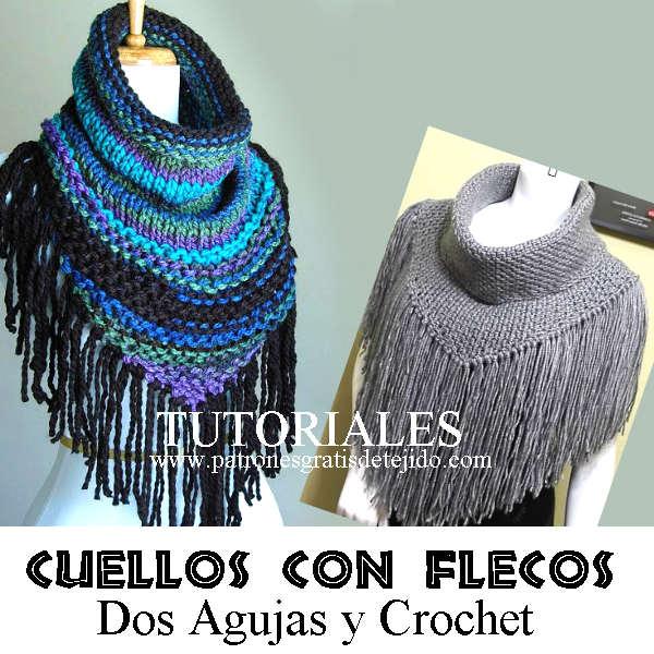 tutoriales cuellos tejidos con dos agujas y crochet