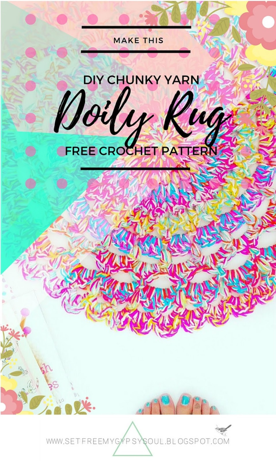 doily mandala crochet rug home pattern free easy fast quick beginner boho interior