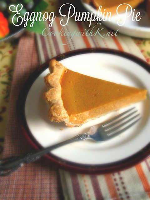 Eggnog Pumpkin Pie recipe from Cooking with K