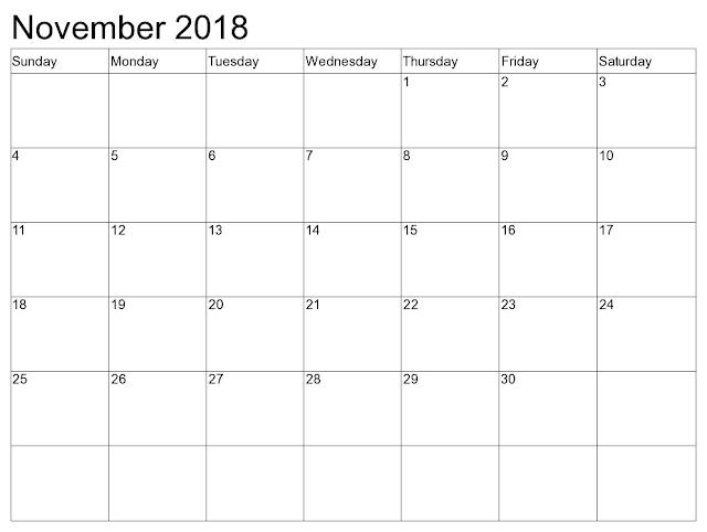 November 2018 Calendar Editable