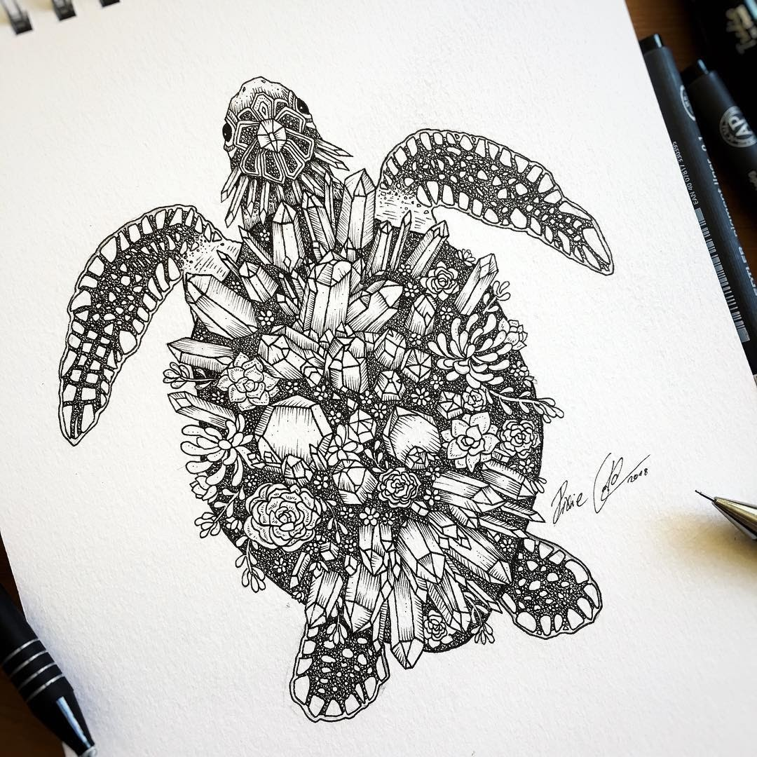 06-Crystal-turtle-Pixie-Cold-Fantasy-Animals-in-Different-Style-Drawings-www-designstack-co
