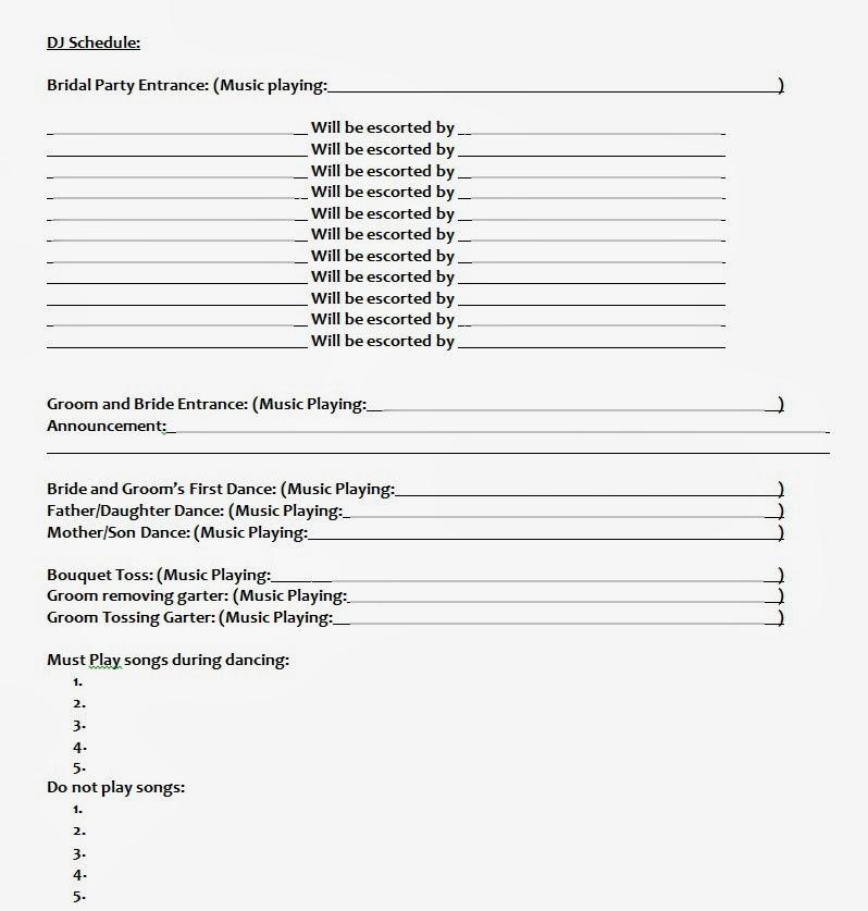 wedding dj schedule template - Onwebioinnovate