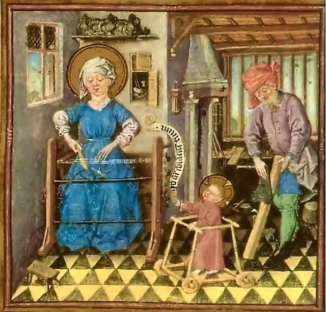 Na Idade Média as crianças aprendiam a profissão em casa, e a Sagrada Família era o exemplo a ser imitado, Maestro de Clèves, c 1440