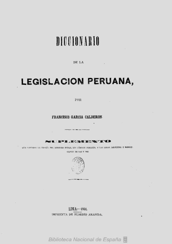 Diccionario de la legislación peruana, Tomo III suplemento