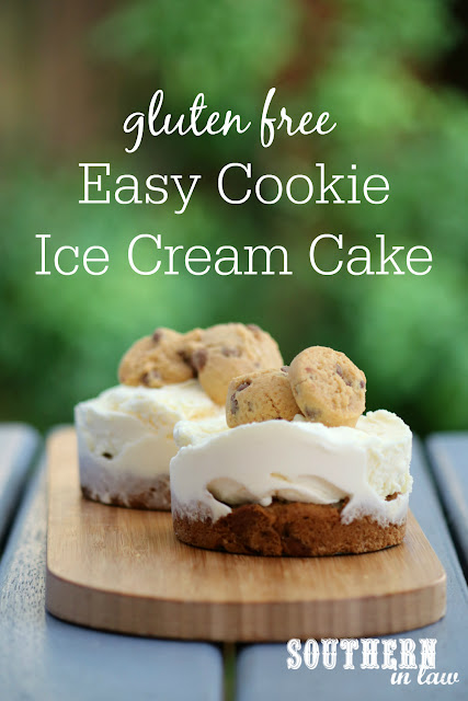 Easy Gluten Free Chocolate Chip Cookie Ice Cream Cake Recipe – Simple gluten free dessert recipes, low fat, low sugar option, one bowl recipe, kid friendly, birthday cake, make ahead cakes