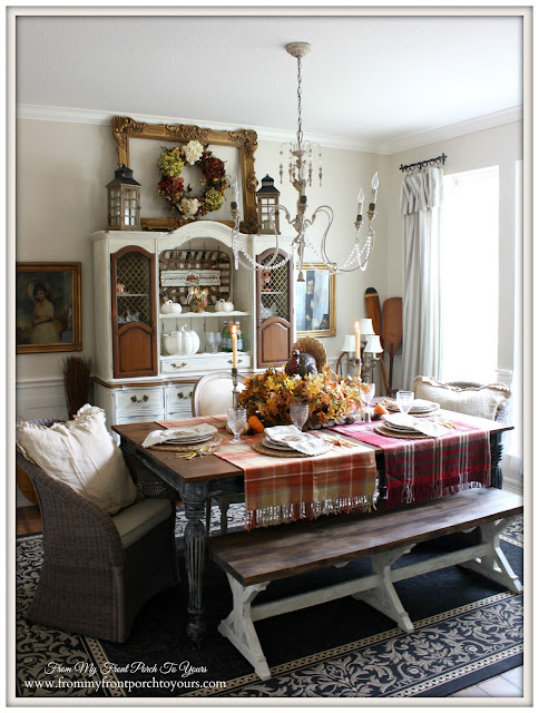 Tablescape-Farmhouse -Thanksgiving- Fall- Dining Room-From My Front Porch To Yours