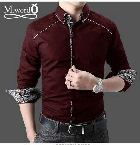 Kemeja Batik Simple Combi 2 Modern Warna Merah Maroon Bj0071