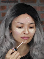 First apply Clio Kill Cover Pro Artist Liquid Concealer #03 under eyes to cover my dark circle, side of nose, a light touch on my nose, blemishes on my fore head and chin areas