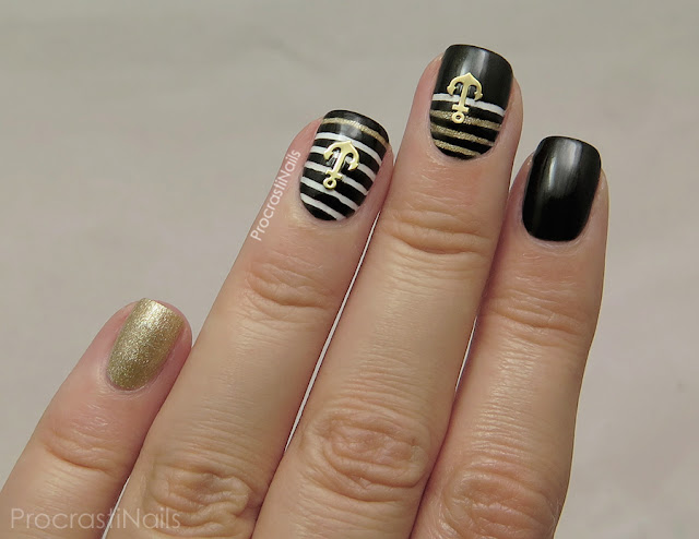 Bold Black and Gold Nautical Nail Art with Born Pretty ...