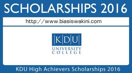 KDU High Achievers Scholarship 2016