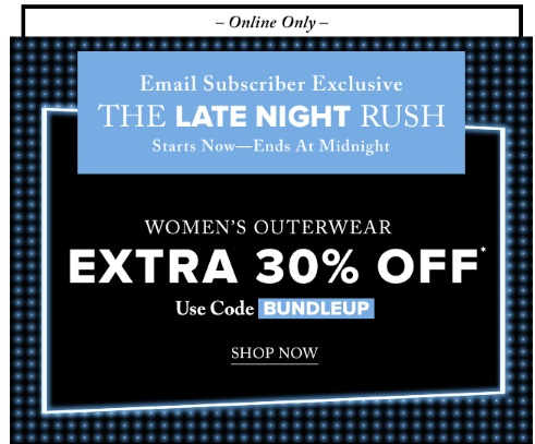 Hudson's Bay Late Night Rush Extra 30% Off Women's Outerwear Promo Code