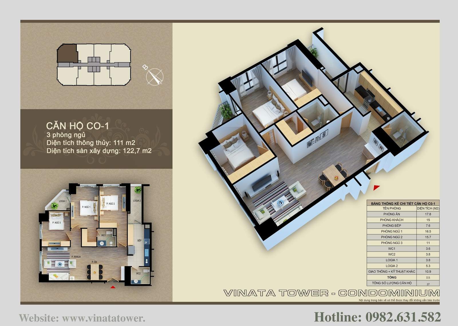 Thiết kế căn hộ Vinata Tower CO-01