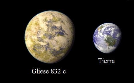 Gliese 832 c y Tierra