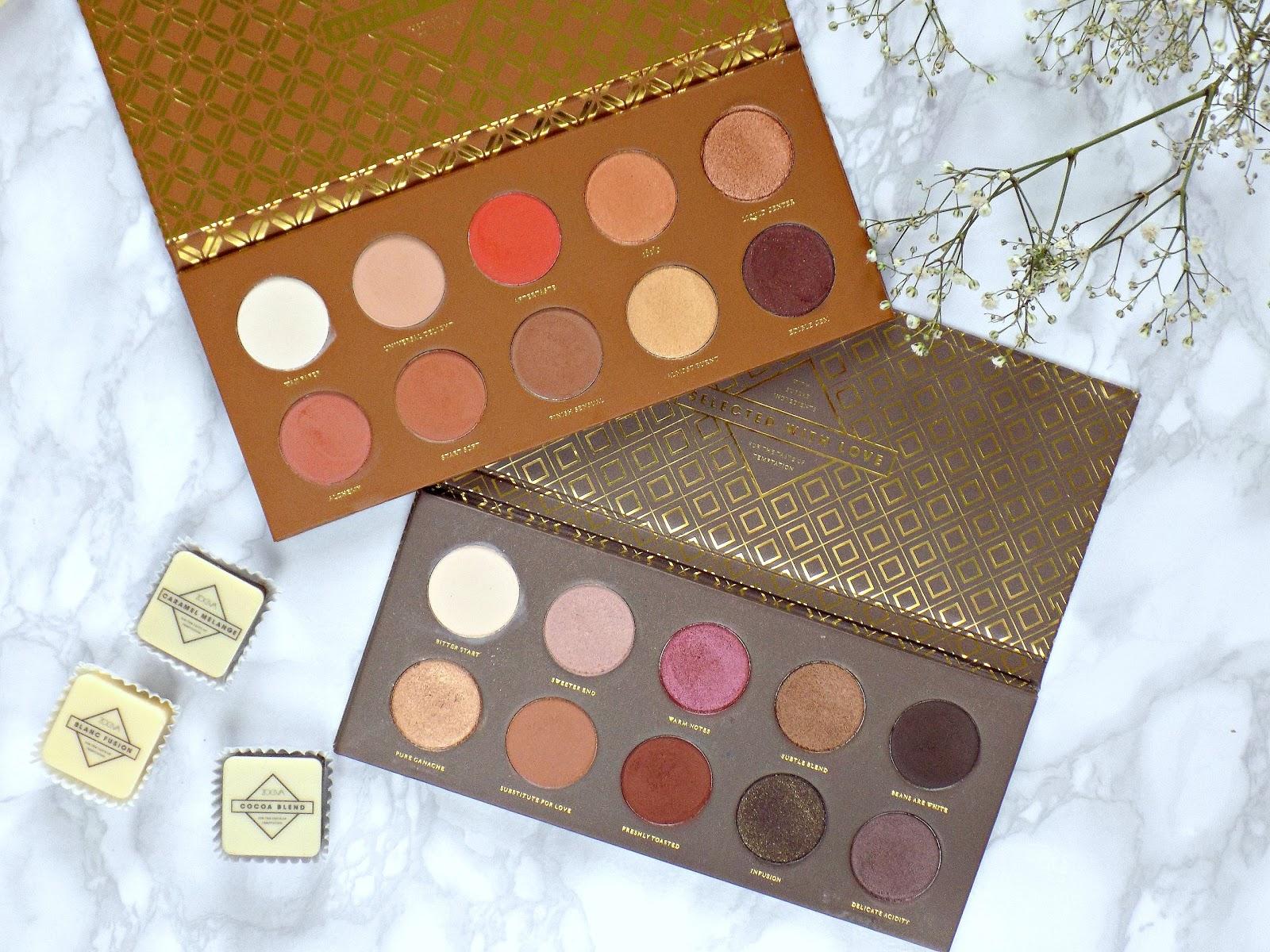 Zoeva Caramel Melange palette vs Cocoa Blend palette