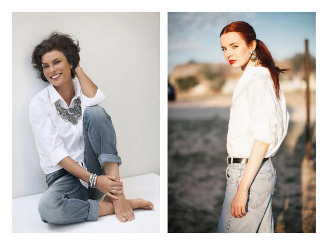 Джинсы + белая рубашка + крупное колье + серьги