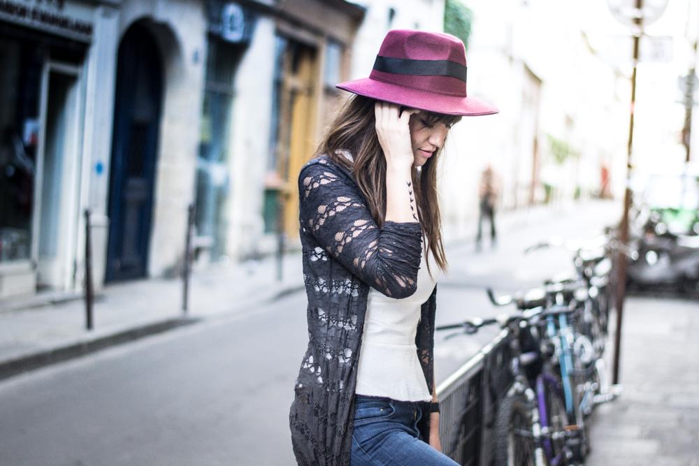 时尚,博客,巴黎,街头风格,外观,时尚,帽子风格