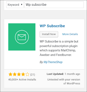 Install and active WP Subscribe wordpress plugin for email subscriber widget