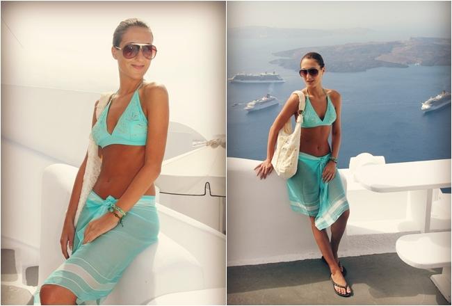 turquoise bikini and scarf, blue swimwear
