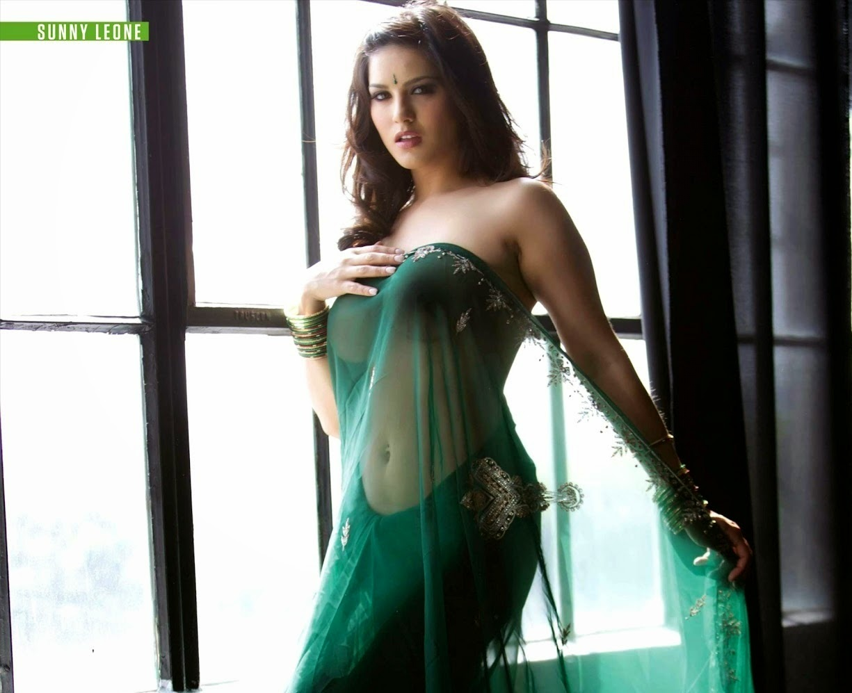 Hot Sunny Leone In Green Saree  Hot Wallpapers-2007