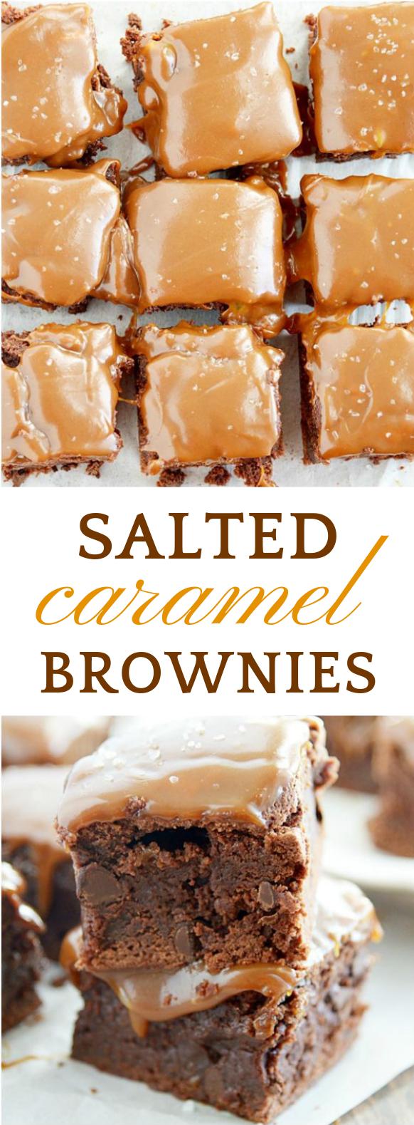 Salted Caramel Brownies #Brownies #Dessert